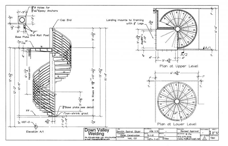 Curved stairs drawing Spiral stair cad